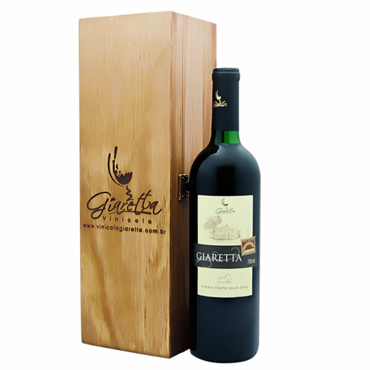 Kit Vinhos Finos Giaretta Presente Uno (01 unidade) Embalagem em madeira
